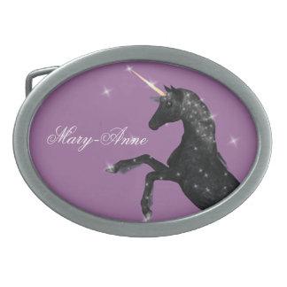 Black Unicorn Oval Belt Buckle