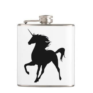 Black Unicorn Silhouette Flask