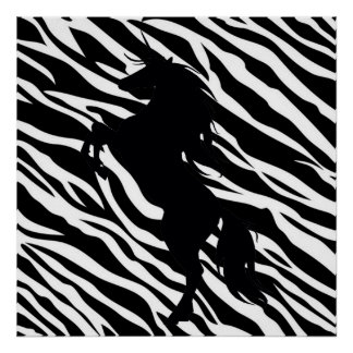 Black Unicorn Silhouette On Zebra Print Poster