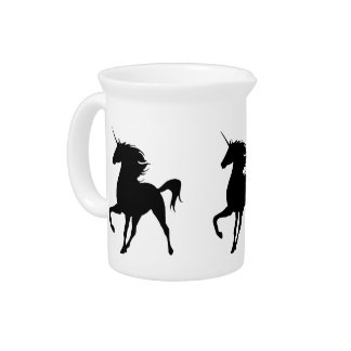 Black Unicorn Silhouette Pitcher