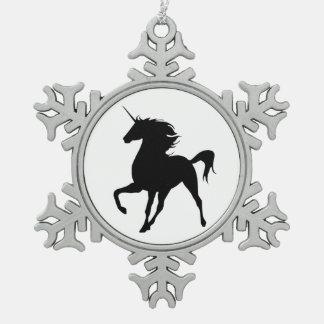 Black Unicorn Silhouette Snowflake Ornament