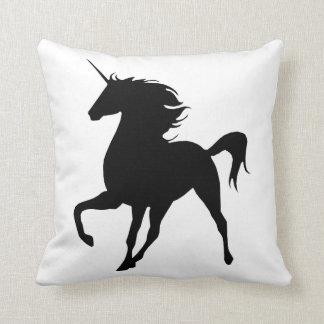 Black Unicorn Silhouette Throw Pillow