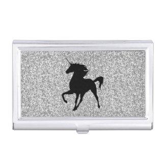 Black Unicorn Silver Glitter Business Card Holder