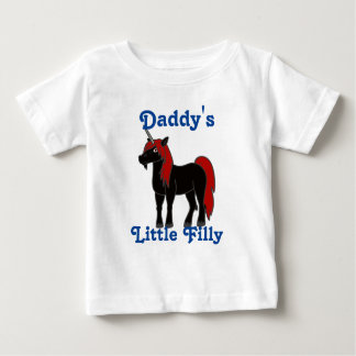 Black Unicorn with Red Mane Baby T-Shirt