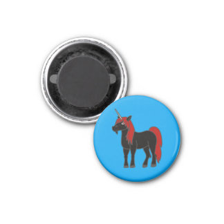 Black Unicorn with Red Mane Magnet
