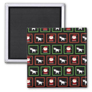 Black unicorns santa claus pattern 2 inch square magnet