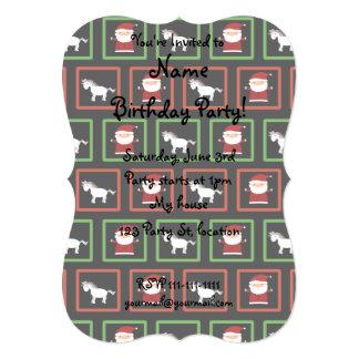 Black unicorns santa claus pattern 5x7 paper invitation card