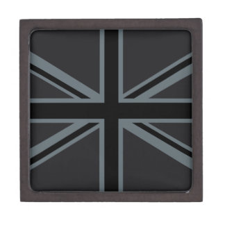 Black Union Jack British Flag Decor Keepsake Box