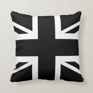 Black Union Jack British (UK) Country Flag Throw Pillow