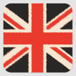 Black Union Jack (especie Style) Pegatina Cuadrada