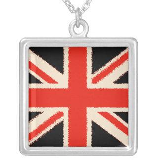 Black Union Jack (kind styles) Square Pendant Necklace