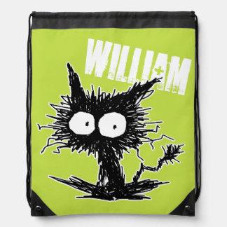 Black Unkempt Kitten GabiGabi Drawstring Backpack