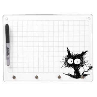 Black Unkempt Kitten GabiGabi Grid White Dry Erase Board With Keychain Holder