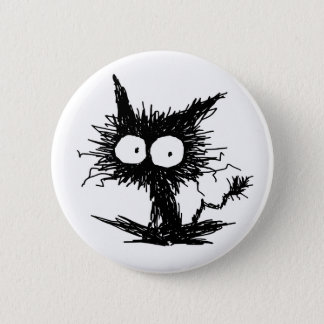 Black Unkempt Kitten GabiGabi Pinback Button