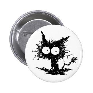 Black Unkempt Kitten GabiGabi Pinback Button