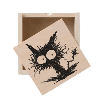 Black Unkempt Kitten GabiGabi Wooden Keepsake Box