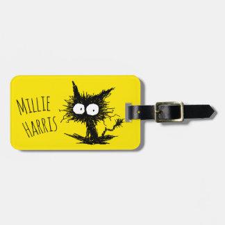 Black Unkempt Kitten GabiGabi Yellow Bag Tag