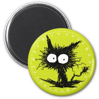 Black Unkempt Kitten yellowish green Magnet