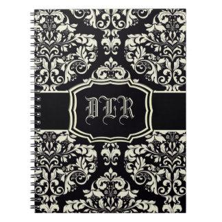 Black & Vanilla Cream Damask Spiral Notebook