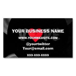 Black Vape Heart Textured Magnetic Business Card