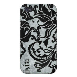 Black Vector Damask Vintage Blue iPhone Cover iPhone 4 Covers