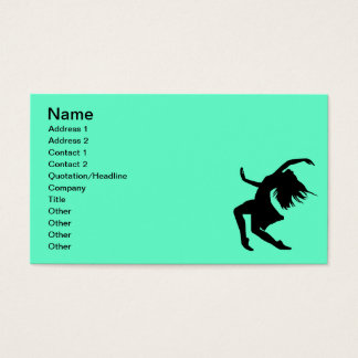Black Vector Dancing Woman Female Girl Party Business Card