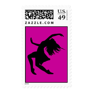 Black Vector Dancing Woman Female Girl Party Stamp