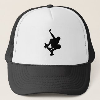 BLACK VECTOR SKATEBOARDER SPORTS FUN LOGO ICONS TRUCKER HAT