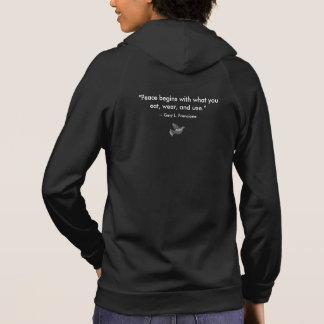 "Black: ""Vegan"" Peace Dove Mosaic with Quote Hoodie"