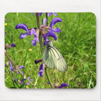 Black Veined White Butterfly Mouse Mat