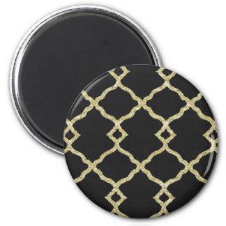 Black velvet and gold glitter magnet