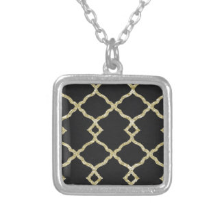 Black velvet and gold glitter silver plated necklace