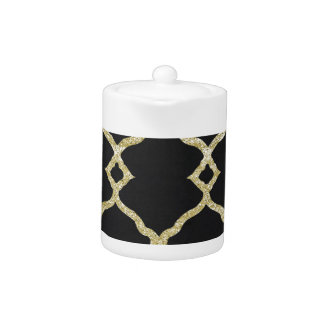 Black velvet and gold glitter teapot