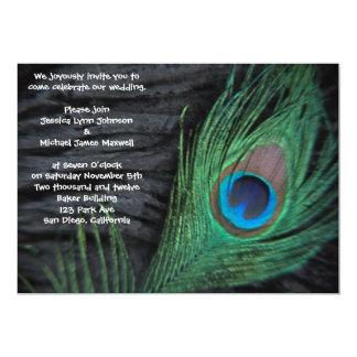 "Black Velvet Peacock Wedding Invitation 5"" X 7"" Invitation Card"
