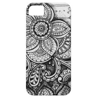 Black Velvet White Damask Dreamcatcher Mandala Art iPhone SE/5/5s Case