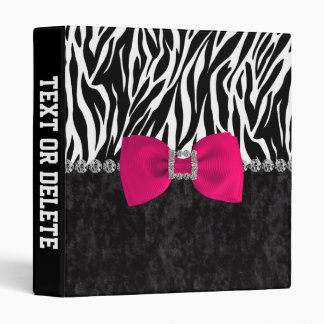 Black Velvet Zebra Print Bling Designer 3 Ring Binder