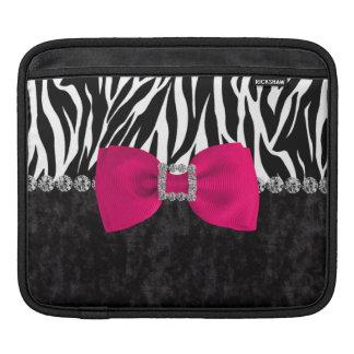 Black Velvet Zebra Print Bling Designer iPad Sleeves