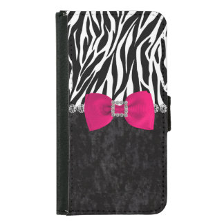 Black Velvet Zebra Print Bling Designer Wallet Phone Case For Samsung Galaxy S5
