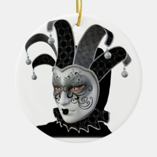 Black Venetian Carnivale Mask in Profile Ceramic Ornament