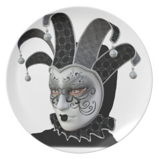 Black Venetian Carnivale Mask in Profile Melamine Plate