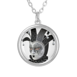 Black Venetian Carnivale Mask in Profile Silver Plated Necklace