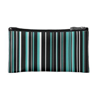 Black, Verdigris Green Blue, White Barcode Stripe Makeup Bag