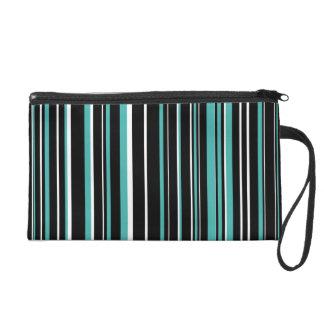 Black, Verdigris Green Blue, White Barcode Stripe Wristlet Purse