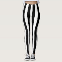 Black Vertical Stripes Leggings
