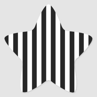Black Vertical Stripes Star Sticker