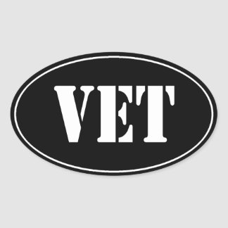 BLACK VET VETERAN Oval Sticker