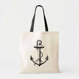 Black Vintage Anchor Illustration Budget Tote Bag