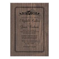 Black Vintage Barn Wood Wedding Invitations Custom Invitation