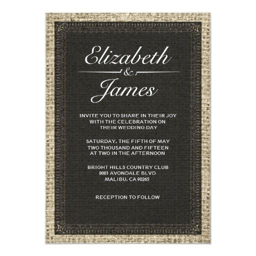 Black Vintage Burlap Wedding Invitations
