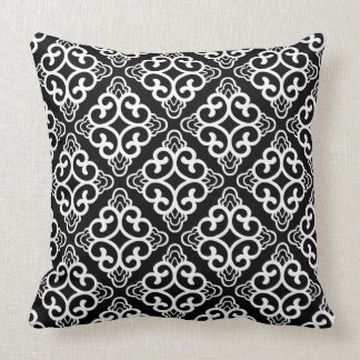 Black Vintage Chinese Square Floral Throw Pillow